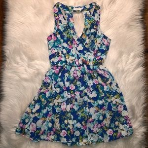 Lush multi water colored floral blousen dress